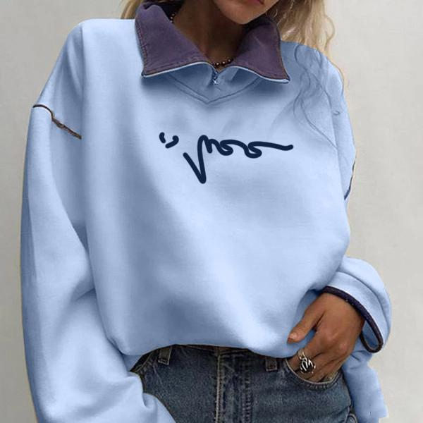 Women's Fashion High Collar Stitching Sweatshirt