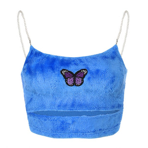 Women Butterfly Embroidery Hollow Open Neck crop top