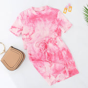 Women Fashion Tie-Dye Short Sleeve Exposed Umbilical Bag Hip Casual Sets
