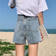 Raw edge high waist was thin wide leg loose shorts wq51