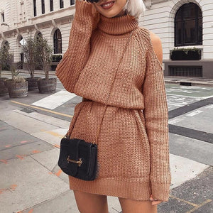 Sexy Solid Color Round Collar Dress