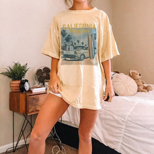 PRINTED CREW NECK SHORT SLEEVE BASIC CASUAL T-SHIRT