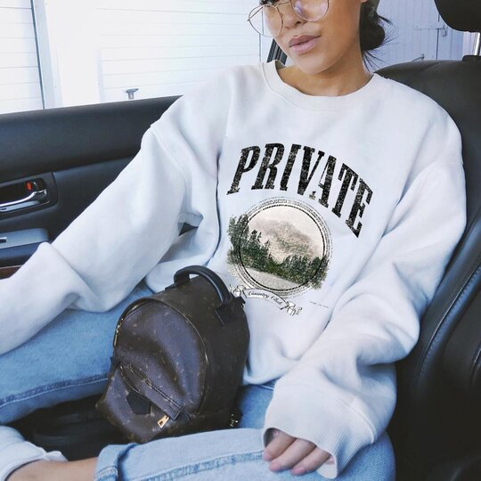 Women'S Fashion Casual PRIVATE Letter Print Sweatshirt