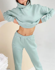 Women'S  Fashion  Casual Solid Color Hooded Sweater Two-Piece Suit