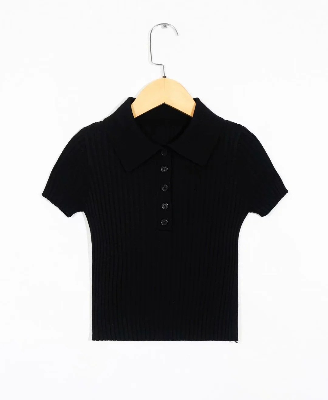 Polo collar short-sleeved T-shirt with exposed navel knitted cardigan