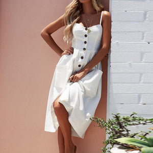 Spaghetti Strap  Single Breasted  Plain  Sleeveless Maxi Dress