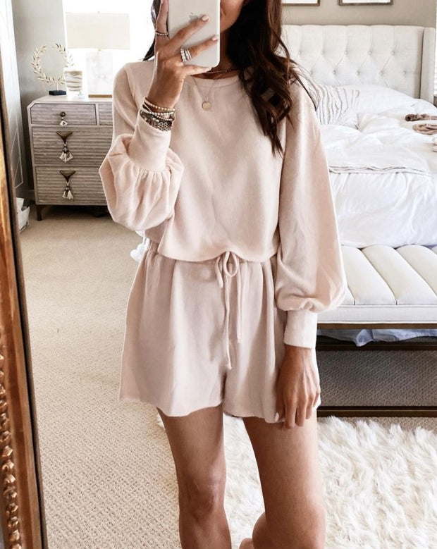Women'S Casual Loose Solid Color Long Sleeve And Shorts Two-Piece Suit