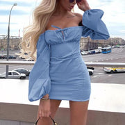 Solid Color Puff Sleeve Off The Shoulder Dress