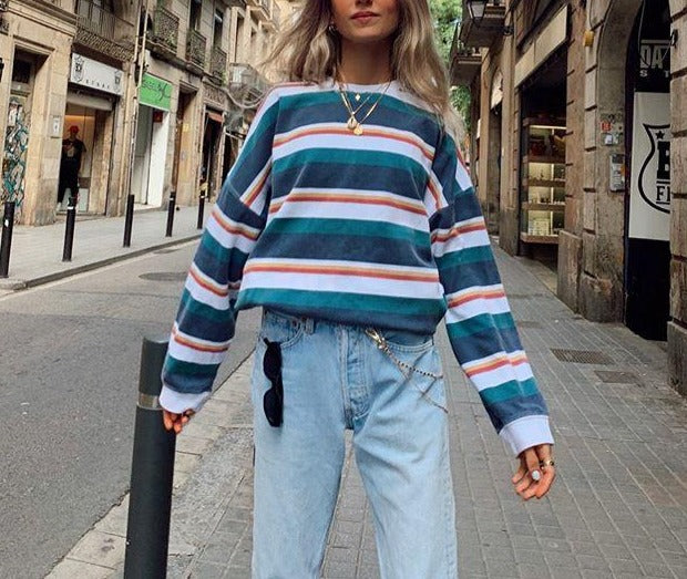 Women street fashion striped loose T-shirt