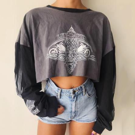 Women's Casual Print Colorblock Long Sleeve Round Neck Sweatshirt