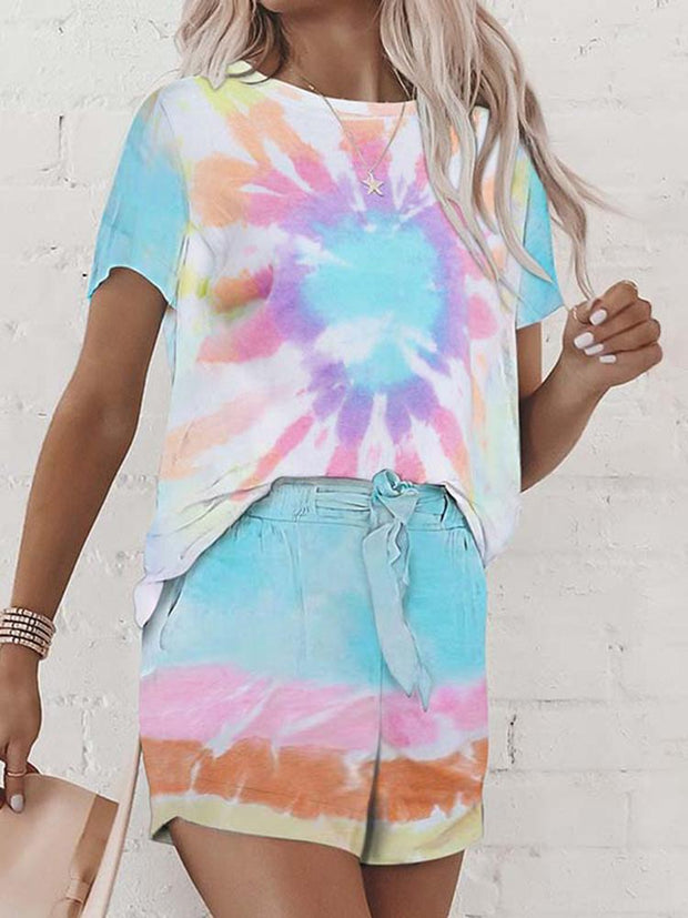 Women's Round Neck Short Sleeve Tie-dye Printed Suit Pants