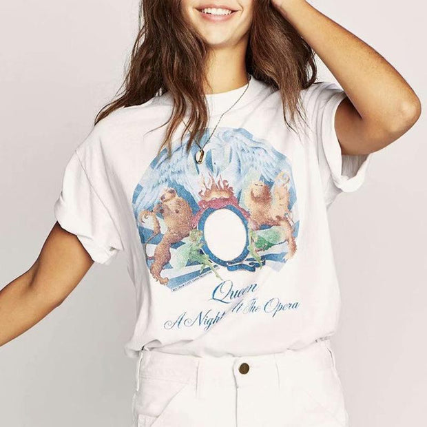 Totem printed letter short sleeve casual top