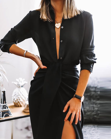 Women'S Fashion Plain Button Design Shirt & Twisted Slit Skirt Suit
