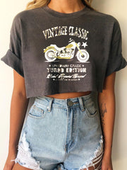 Women's Casual Motorcycle Letter Print Short T-Shirt Top