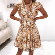 Elegant floral print V-neck ruffle sleeve dress