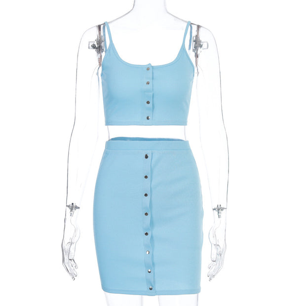Women Sexy Sleeveless Front Button Sets
