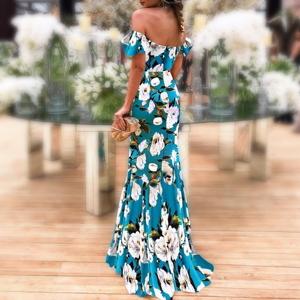 Elegant Off-The-Shoulder Blue Printed Vintage Dress