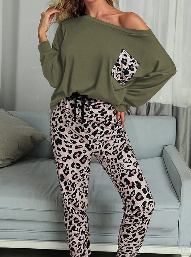 Women'S Casual Home Set Leopard Print Long Sleeve Trousers Two Piece Set