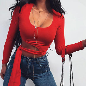 Slim round neck long sleeve waist tie exposed top