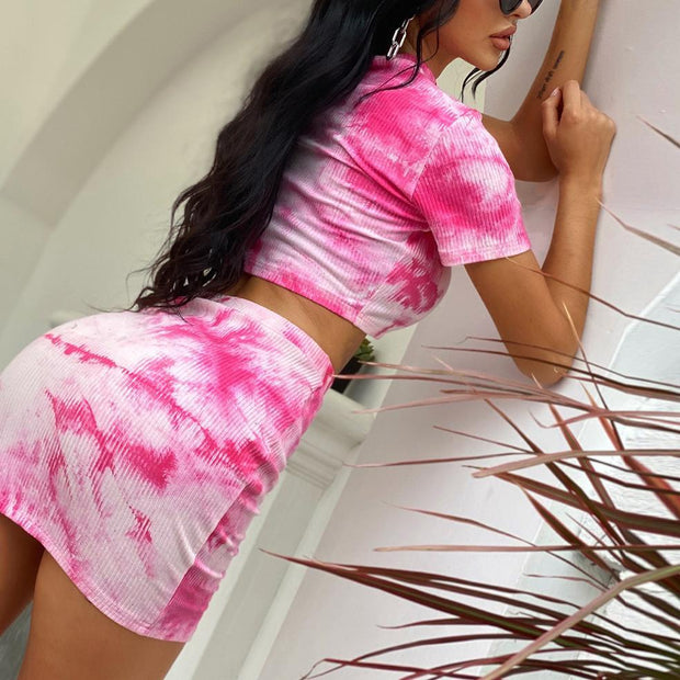 Fashion tie-dye short sleeve exposed navel bag hip casual suit