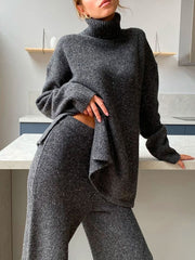 Women'S  Turtleneck Sweater Loose Wide Leg Pants Two-Piece Suit