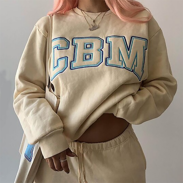 Women'S Simple Letter Embroidery All-Match Sweatshirt