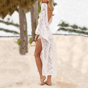 V Collar Sexy Halter Split Lace Maxi Vacation Dress