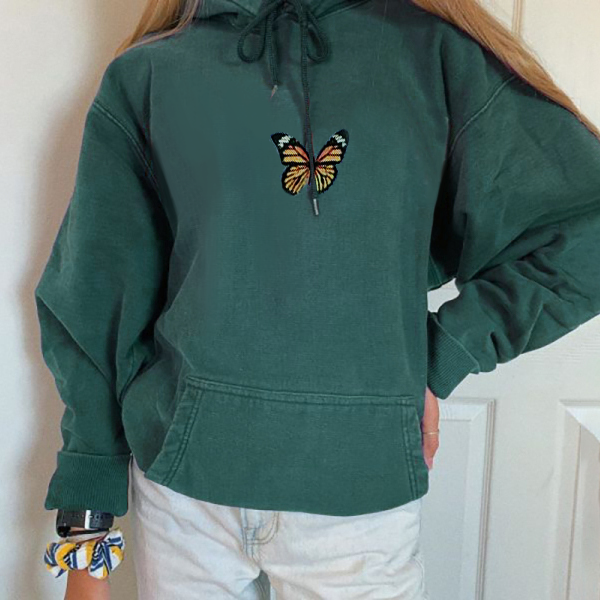 Womens Casual Loose Butterfly Print Pullover