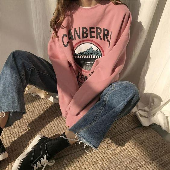 Womens Loose Letter Sweatshirt