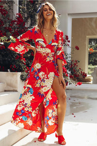 Hot sale women trumpet sleeve printed polar maxi floral dress