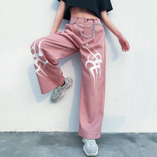 Women's casual loose printed high waist slimming trousers