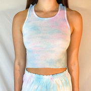 Women Casual tie dye short Crop Top