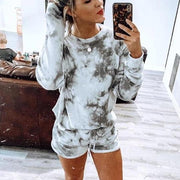 Abstract Printed Round Neck Long Sleeve Lounge Set