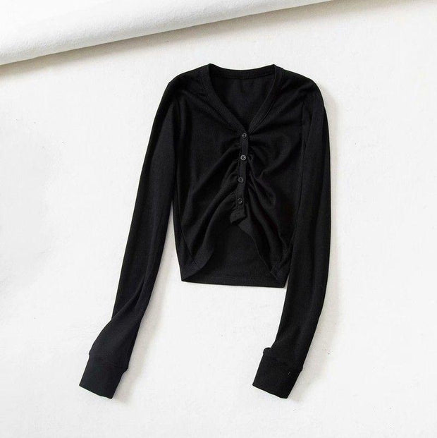 Fashion v-neck long sleeve pleated exposed navel knitted thread top
