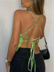 Sexy Tie Dye Backless Top