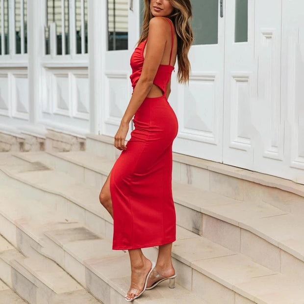 Irregular split skirt pleated midi dress