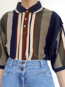 Women's Fashion Striped Short Sleeve POLO Shirt