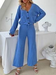 Women's V-Neck Button Knitting Explosion Women's Suits