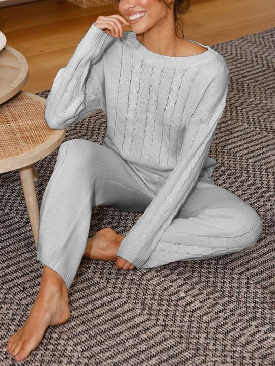 Women'S Simple Casual Loose Long Sleeved Round Neck Top Pants Knitted Suit