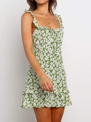 Fashion suspender floral vacation dress