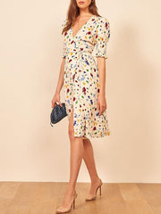 Sexy V-neck vintage short sleeve printed dress