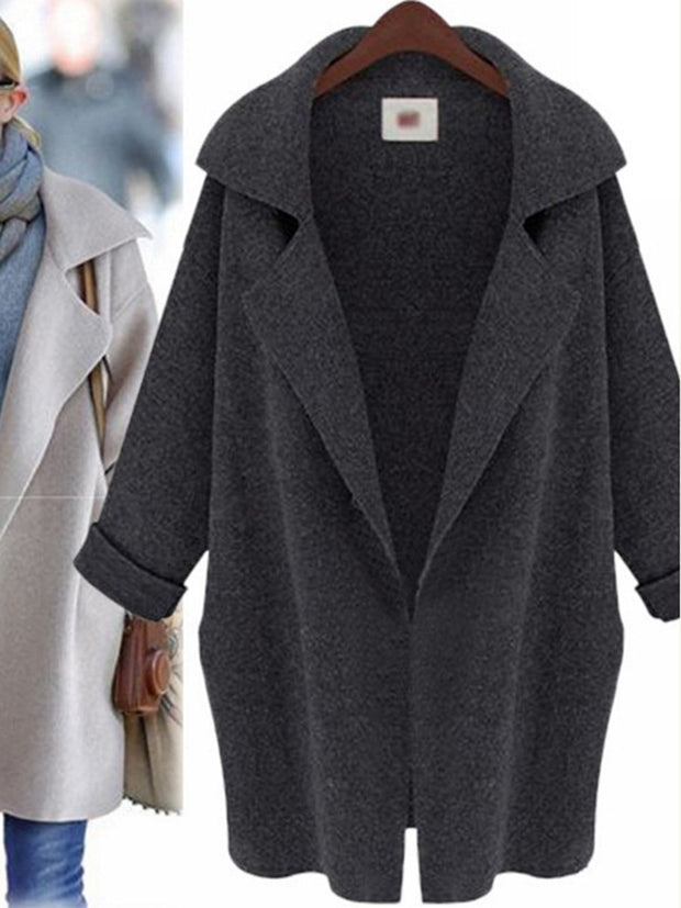 Women'S Cardigan Suit Collar Knitted Coat