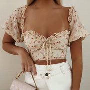 Chiffon Floral Wood Fungus Lace-back Short Shirt