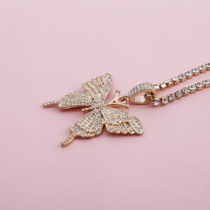 Exaggerated rhinestone butterfly necklace