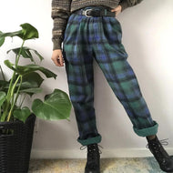 Vintage color matching plaid pocket slacks