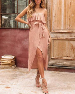 Sweet Off Shoulder Plain Belted Slit Pink  Vacation Dress