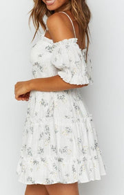 Women Daisy Full Skirt White Print  Dress