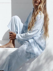 Women'S Fashionable And Comfortable Light Blue Suit