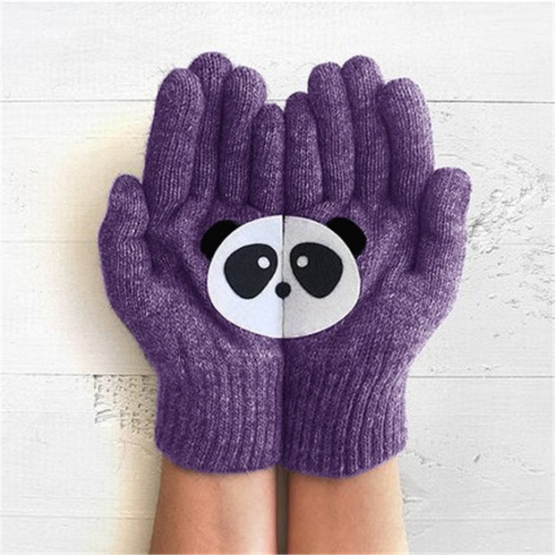 Women'S Warm And Thick Panda Cute Print Gloves