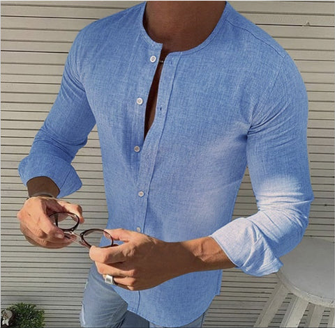 Men round neck solid color Blouses